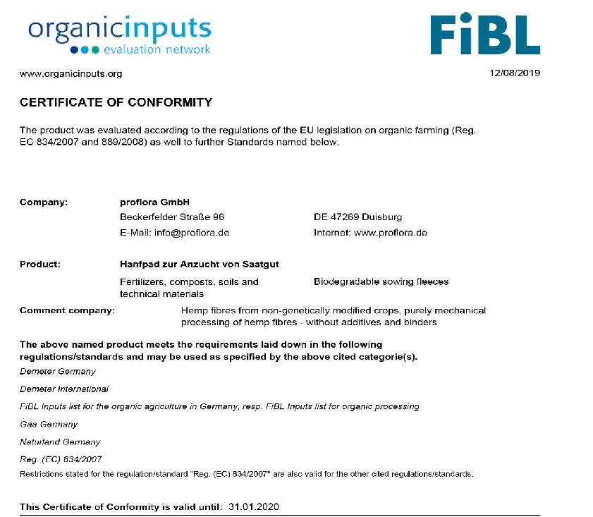 Certification Grow pads for microgreens (Hemp and Coco)